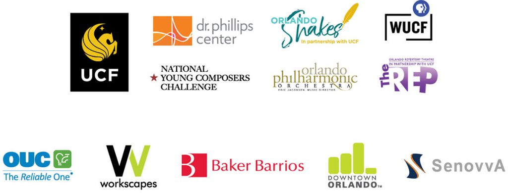 Logos incuding UCF, Dr. Phillips Center, Orlando Shakes, WUCF, National Young Composers Challenge, Orlando Philharmonic Orchestra, Orlando Repertory Theatre, OUC The Reliable One, Workscapes, Baker Barrios, Downtown Orlando and SenovvA