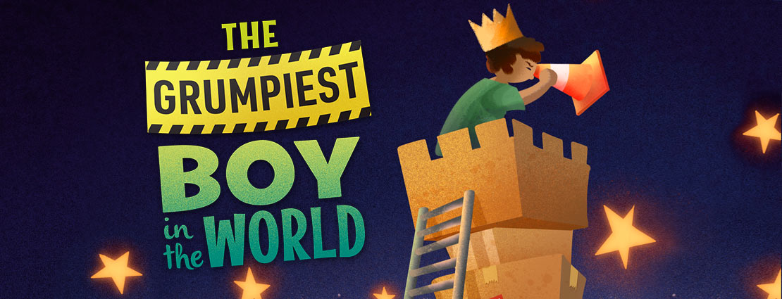 """Poster art for """"The Grumpiest Boy in the World"""" with cartoon boy looking down from tower of moving boxes"""